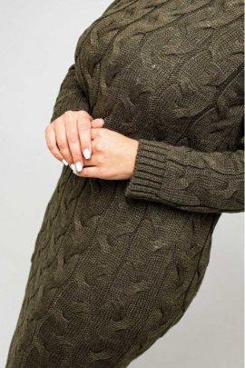 Укороченное вязаное платье size+