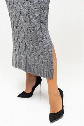 Длинное вязаное платье батал