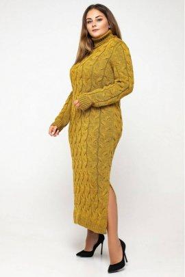 Вязаное платье батал высокое горло