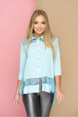 Асимметричная блуза с гипюрными вставками