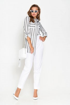 Льняна сорочка з широкою смужкою