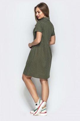 Котонова сукня-сорочка в дрібний горох