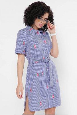 Сукня-сорочка в клітинку з вишивкою