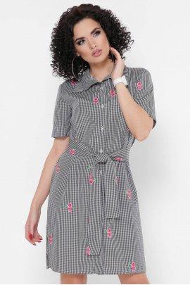 Платье-рубашка в клеточку с вышивкой