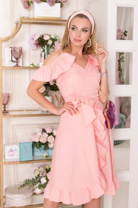 Сукня з рукавами-оборками на запах