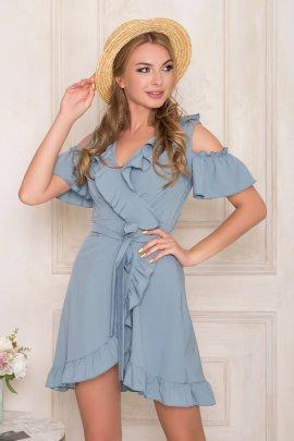 Укорочена сукня з рукавами-воланами на запах