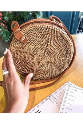 Сумка кругла з соломи
