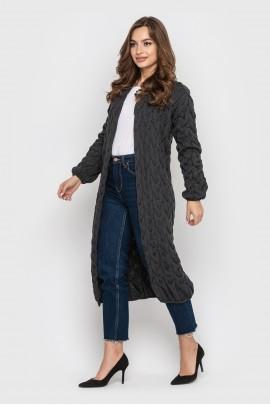 В'язаный довгий кардиган (джинс)
