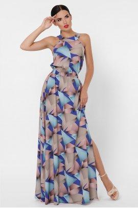 Платье-макси с принтом абстракция