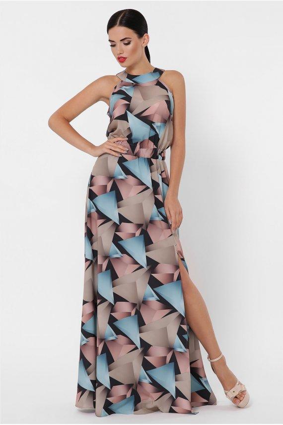 Сукня-максі з принтом абстракція
