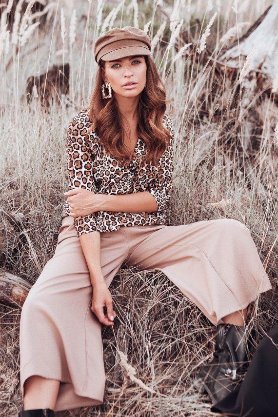 Леопардова блуза з завязкою-бантом