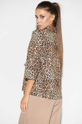 Леопардовая блуза с завязкой-бантом